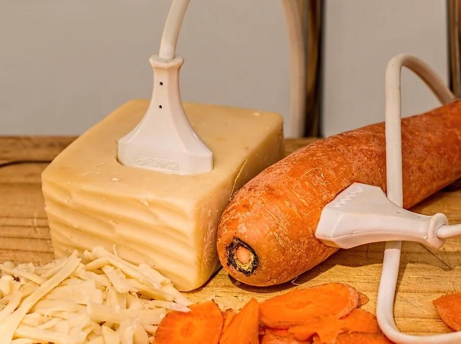 Elektrostecker in einem Stücke Seife und einer Karotte